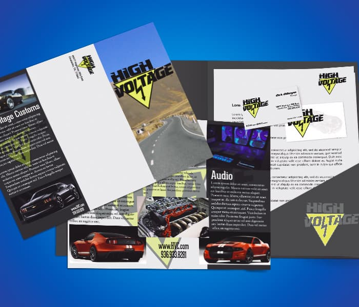We create all kinds of business branding, in this image we show you business cards, brochures, mailers, and stationary for High Voltage Auto