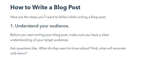 This is a clipping from Hubspot's Article about how to write a blog.