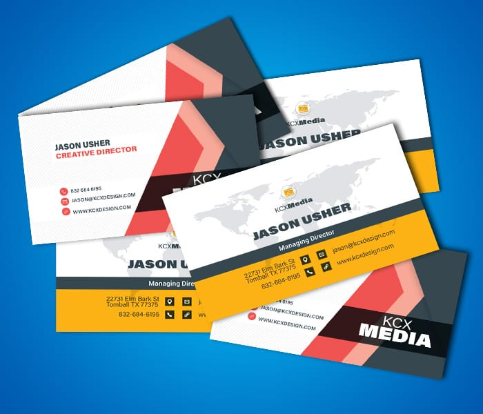 We create business cards, like these samples for different KCX Media concepts