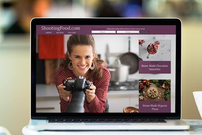 In this image we show off a design for a food blog website we built.