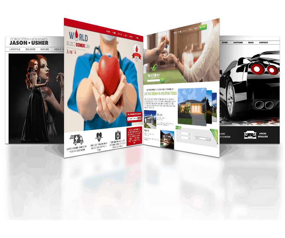 We design brand-driven websites like the four landing pages in this image.